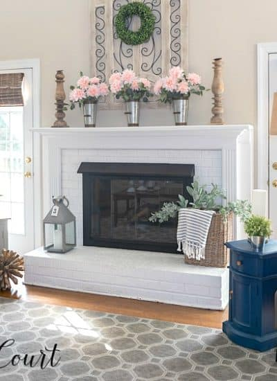 spring mantel decor with pink flowers