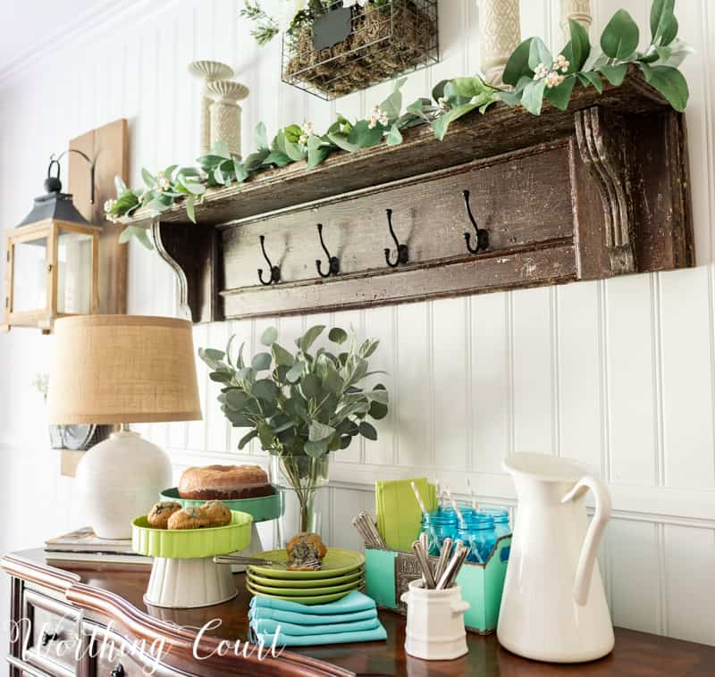 Dessert bar idea using a large and small pedestal from the #TrishaYearwood Collection at #TractorSupply #springdecor #springdecoratingideas #centerpieceideas #aqua #limegreen #HomeDecor #SouthernStyle #dessert #cake #dessertbar #hospitality