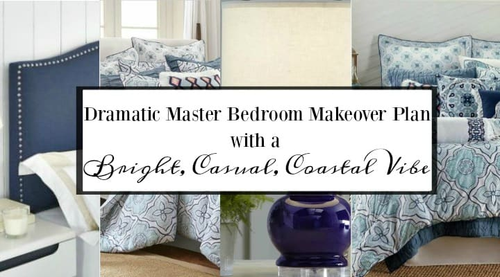 My Master Bedroom Now And The Makeover Plan. Turn a dated and drab master bedroom into a bright and cheerful space with a coastal vibe. #blueandwhitebedroom #masterbedrromideas #masterbedroomdesign #coastaldecoratingideas #blueandwhitedecor #masterbedroommakover #bedroomdecortingideas #coastalbedroom #coastaldesign #coastalhome #coastalstyle
