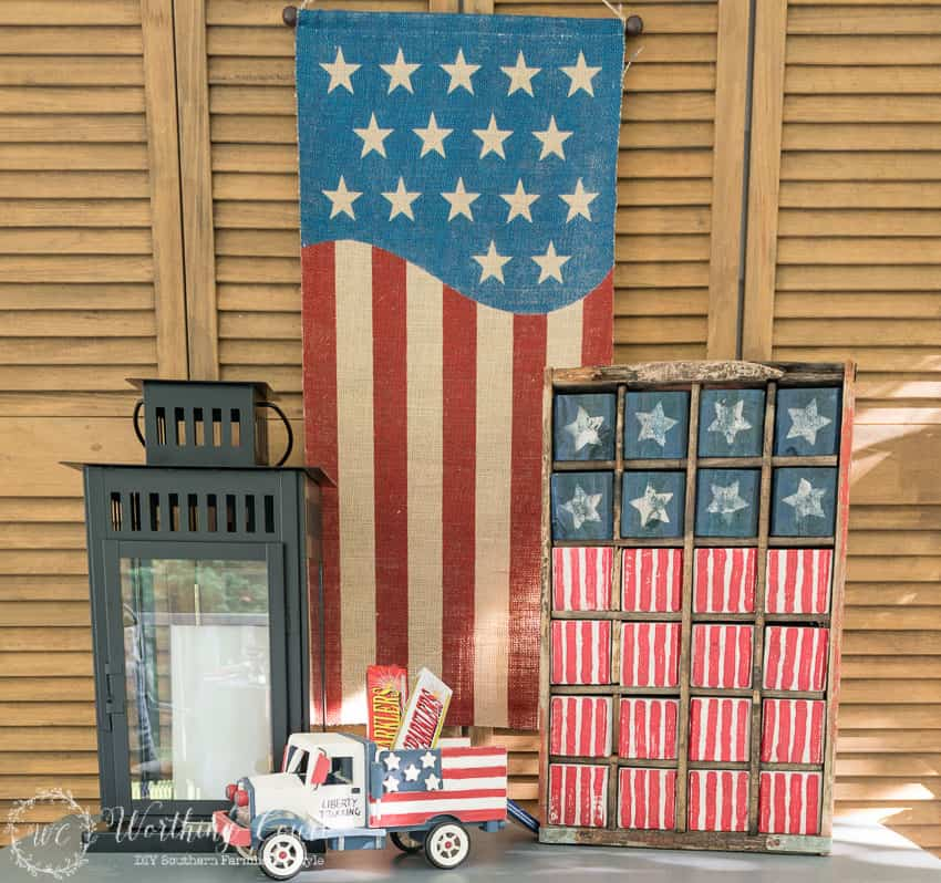 Patriotic vignette for July 4th. #july4thdecorations #patrioticdecorations #redwhiteandblue #july4thideas