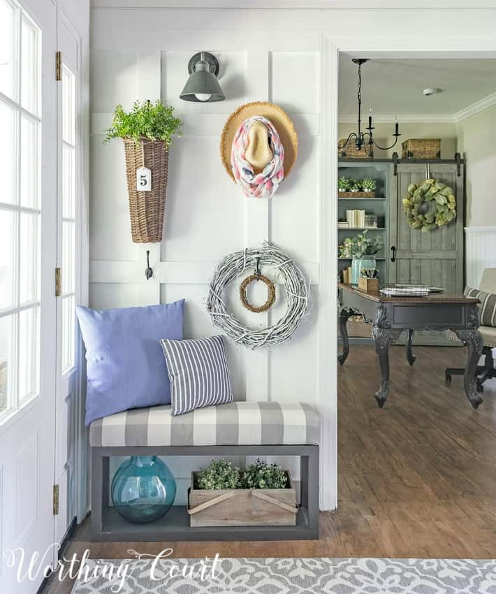 Pillows are a great way to up the comfort aspect of any space. #worthingcourtblog #bluepillowsforsummer #farmhousepillows #decoratingaroomwithpillows