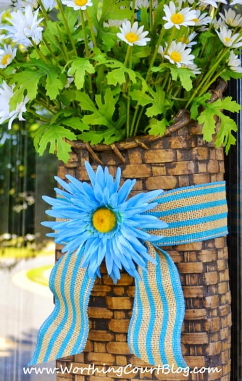 Craft stores are full of ribbons of all sorts of designs in blue. #worthingcourtblog #ribbonwreath #ribbonwrappedflowers #frontdoorideas