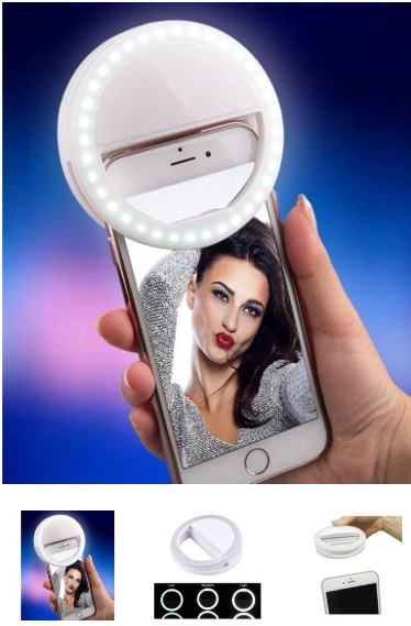 Clip on ring light for selfies. #iphone #android #selfie #iphonegadget #androidgadget