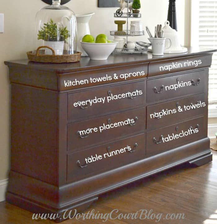 Repurpose and old dresser into a sideboard. Great for storing all those kitchen and dining essentials that you want to keep close at hand. #upcyclingideas #repurposedfurniture #repurpose #upcycledfurniture #upcycledideas