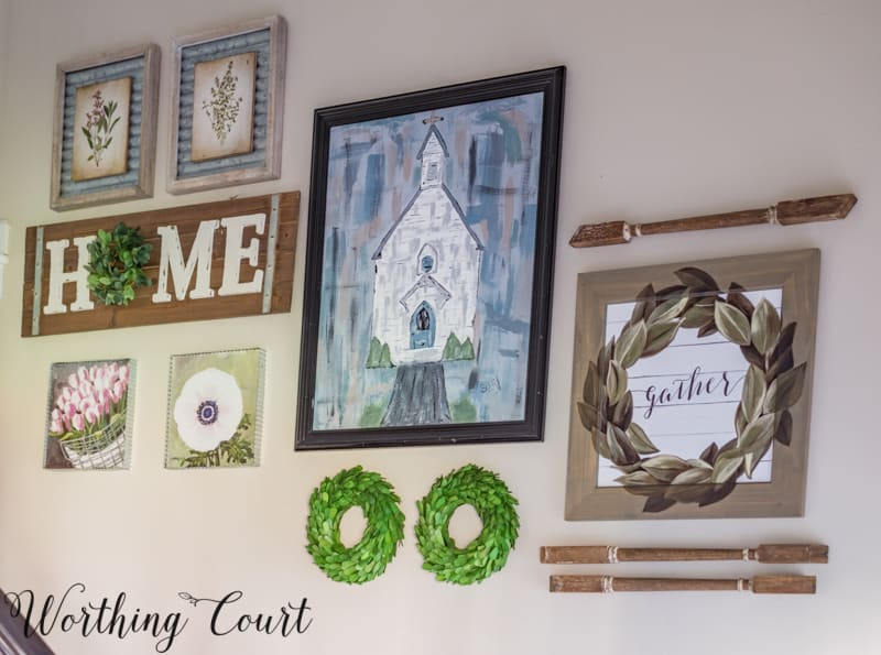 Gallery walls are the perfect place to add unusual elements. #worthingcourtblog #gallerywallrockstar #unexpectedwalldecor