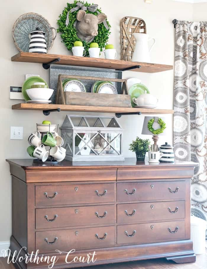 Here's a great upcycling idea - turn an old dresser into a sideboard. The drawers are perfect for storing all of those kitchen and dining essentials that want to keep close at hand. #upcyclingideas #repurposedfurniture #repurpose #upcycledfurniture #upcycledideas