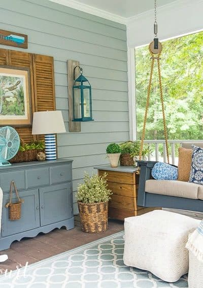 How to protect furniture, fabrics, accessories and other decor from rain when it's on a porch. #waterproof #weatherproof