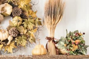 Fall vignette with wheat bundle