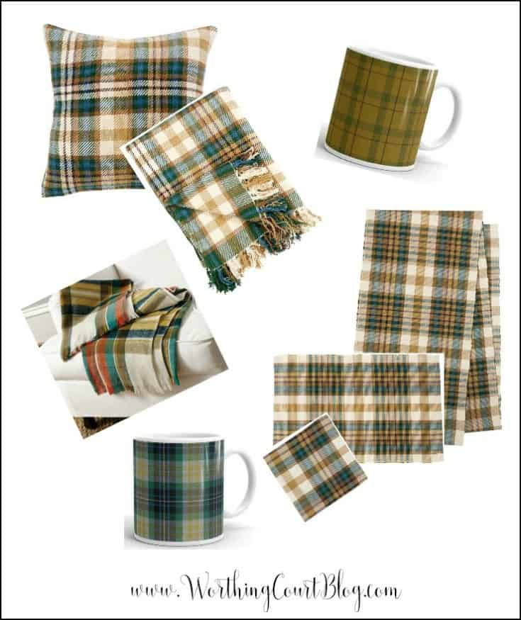 Green, blue and gold plaid home decor