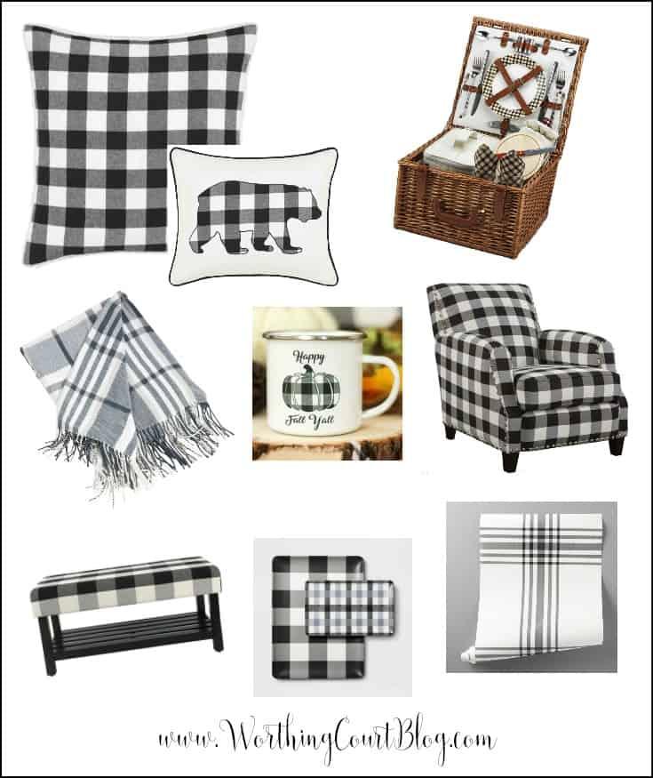 Black and white plaid home decor
