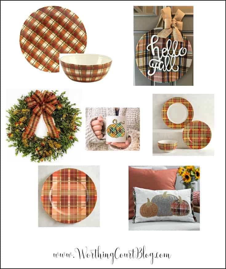 Traditional fall colors plaid home decor