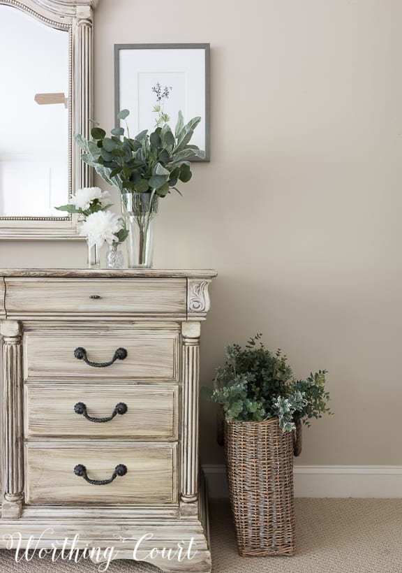 traditional bedroom dresser painted white with gray wash paint