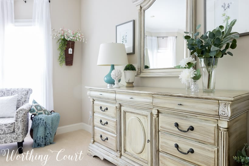 white shabby chic traditional dresser with gray wash paint