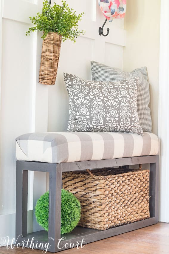 diy upholstered bench covered with gray and white buffalo check fabric