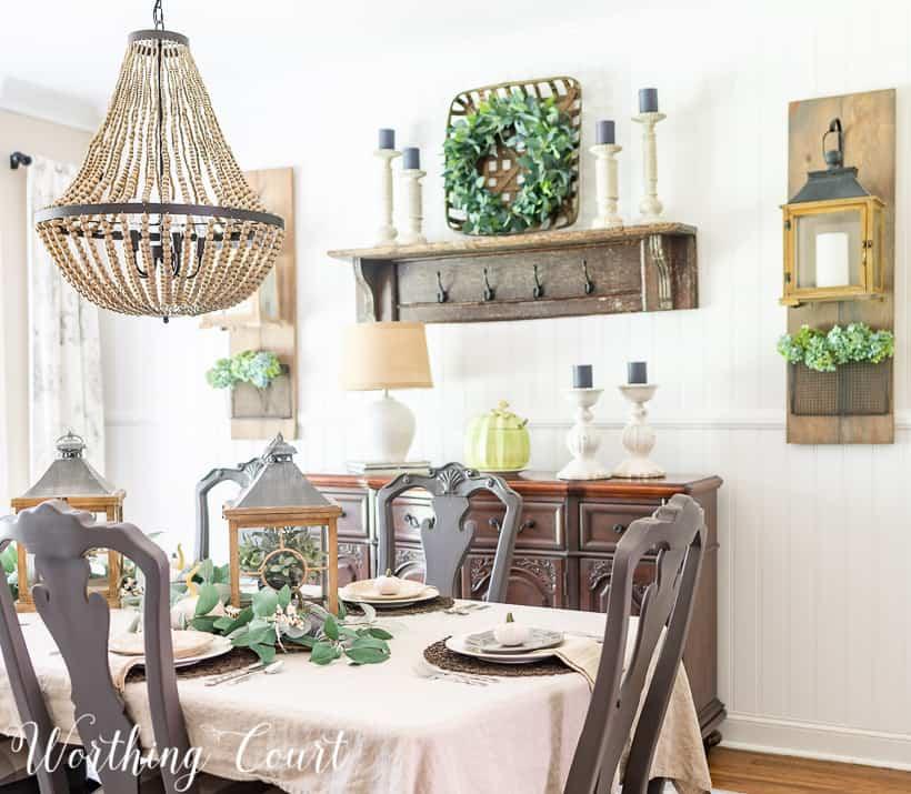 neutral fall dining room decor