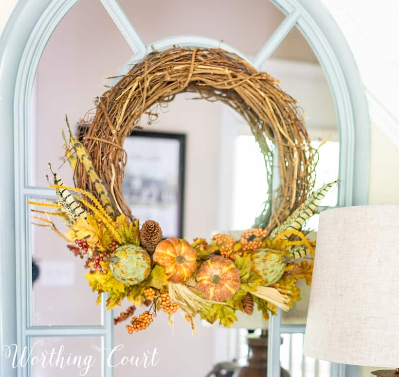 grapevine wreath with fall picks
