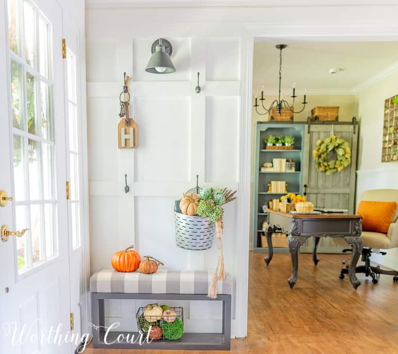 DIY board and batten wall with fall decorations