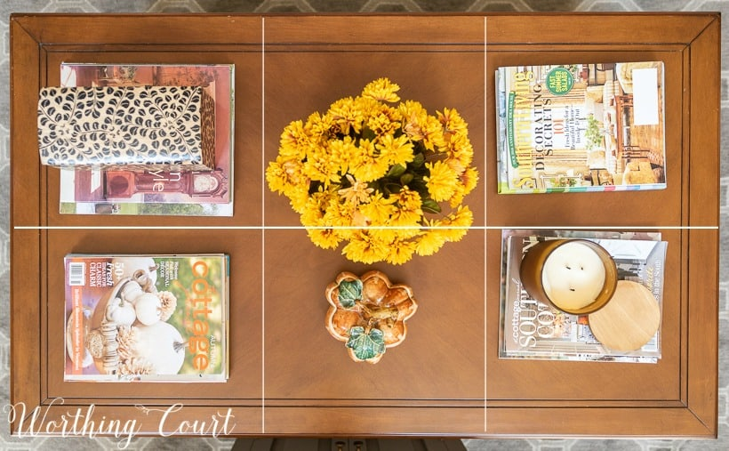 coffee table decorated for fall