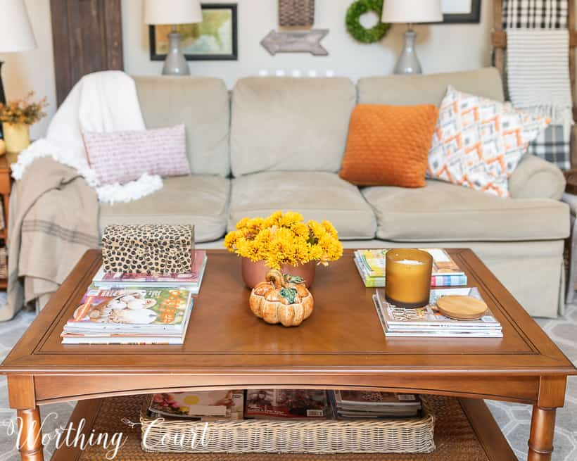 coffee table with fall decorations