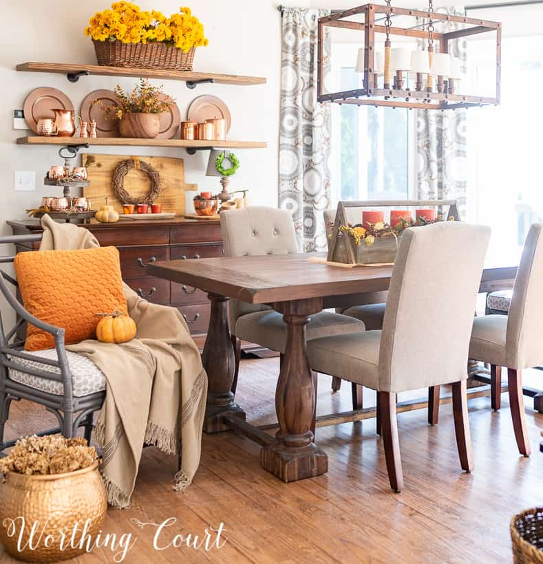 open shelves with copper accents for fall
