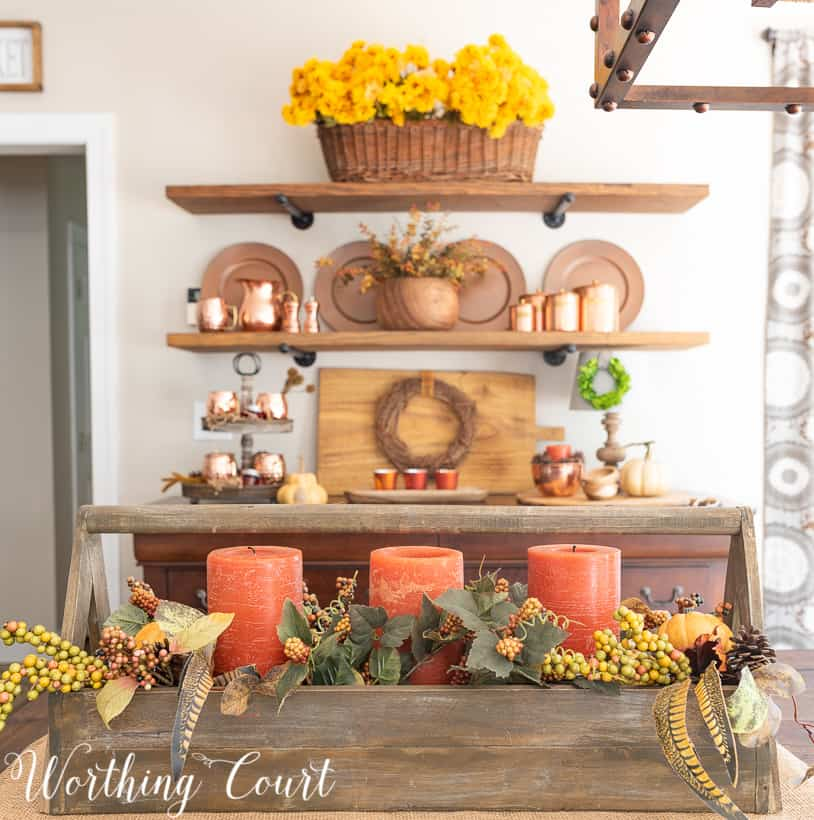 fall centerpiece with traditional fall colors