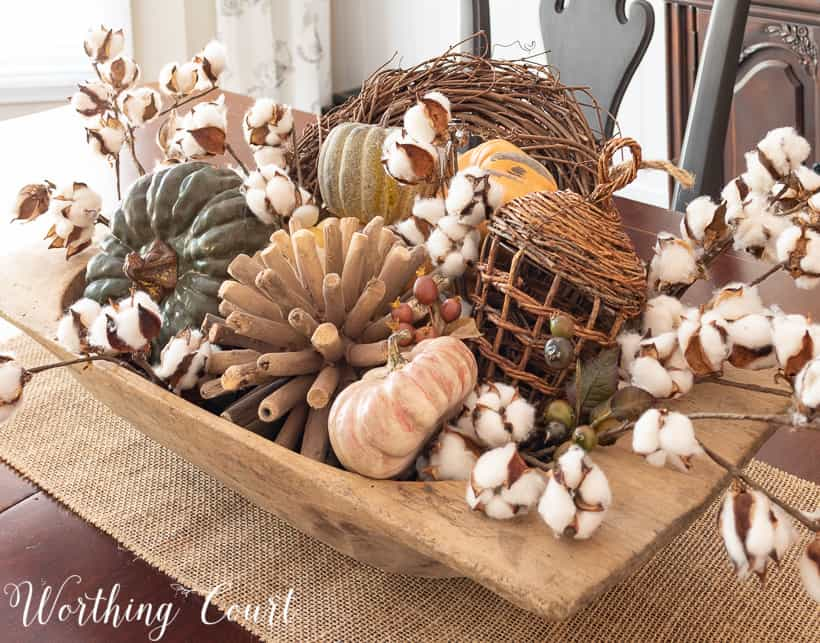 large dough bowl with fall decorations