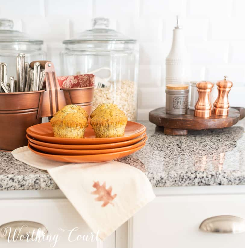 kitchen decorated for fall with copper accents