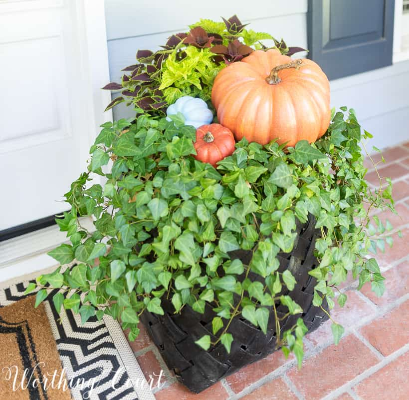front porch with fall decorations