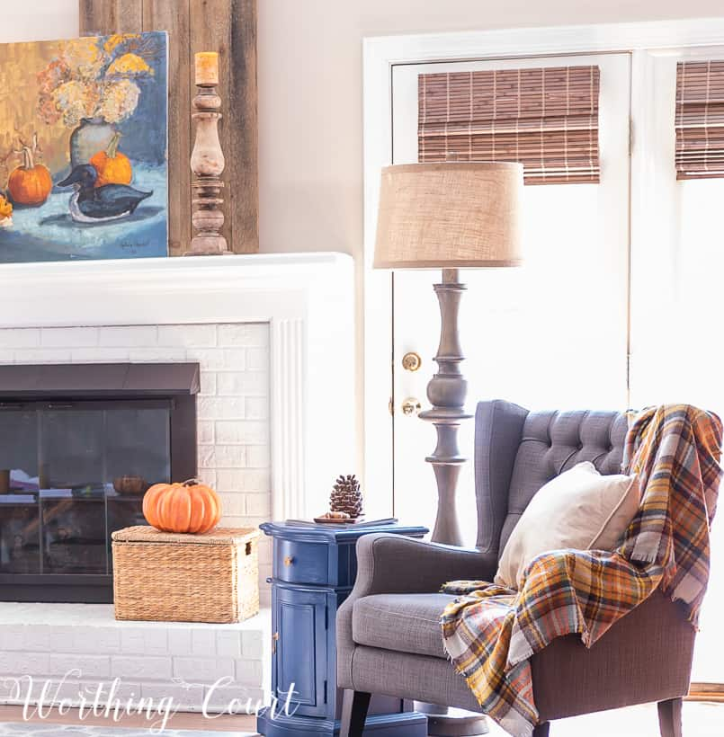family room decorated for fall