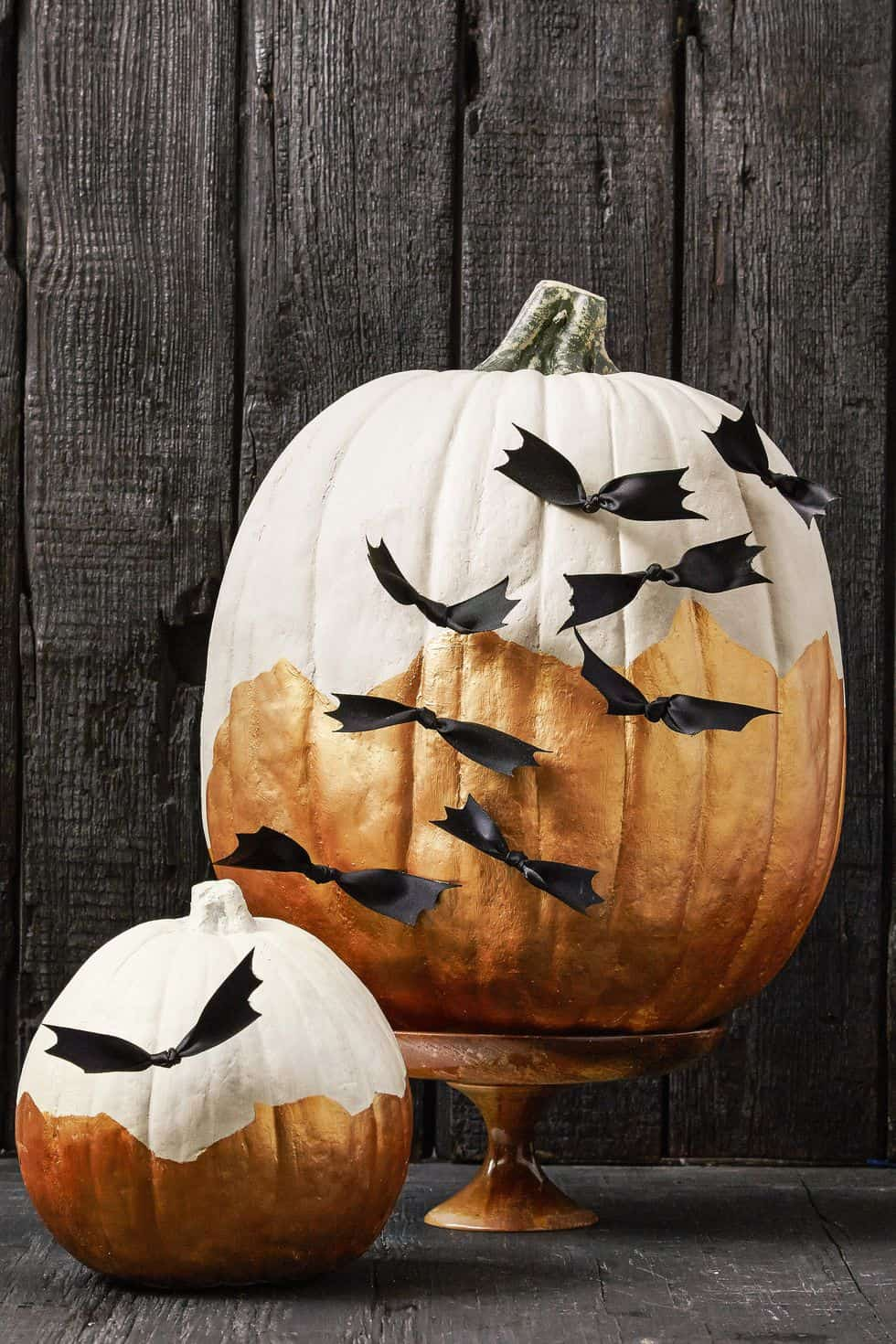 No-carve Halloween pumpkin using black ribbon to make small bats