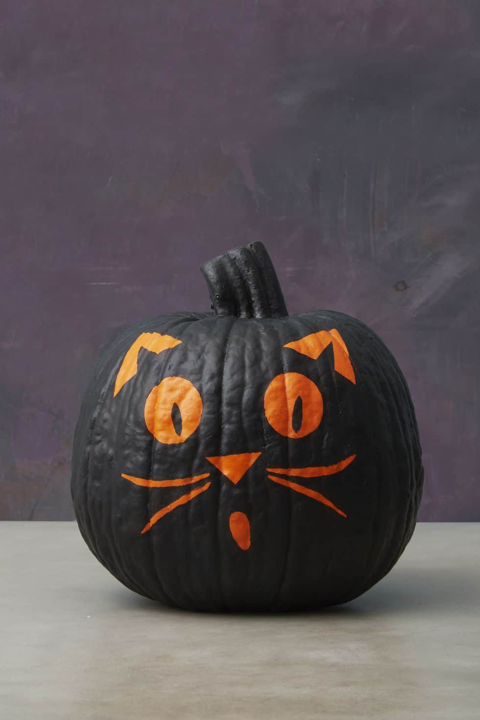Scaredy cat painted Halloween pumpkin