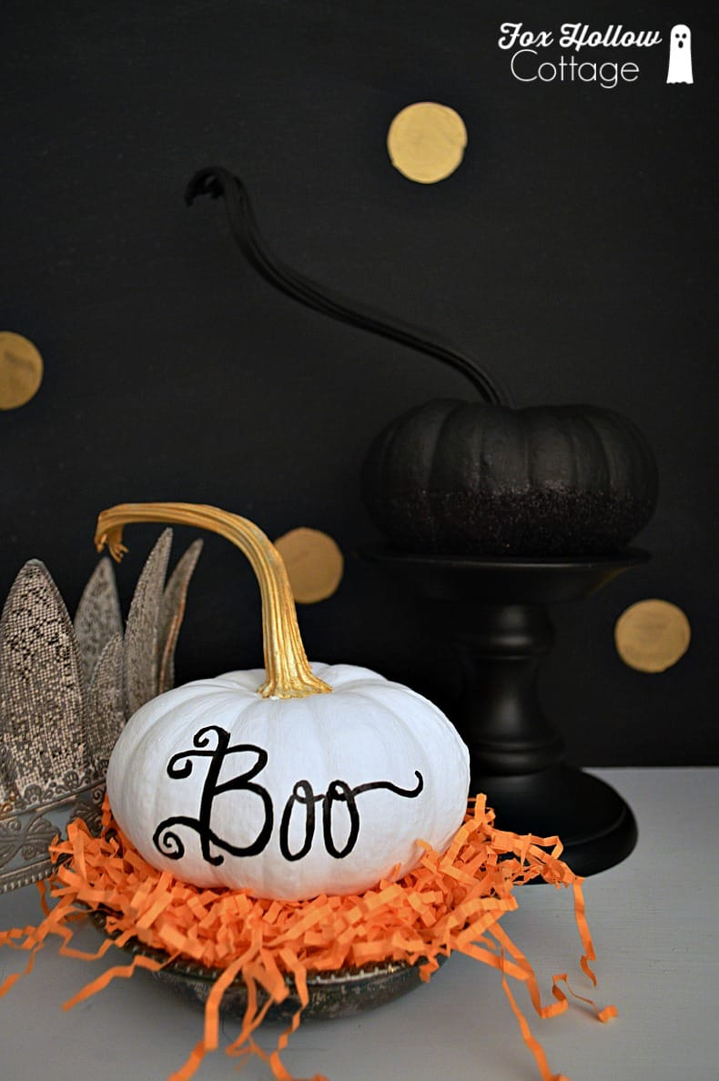 white boo halloween pumpkin
