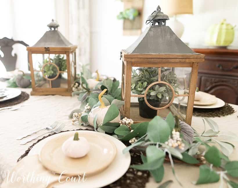 eucalyptus garland and velvet pumpkin fall centerpiece