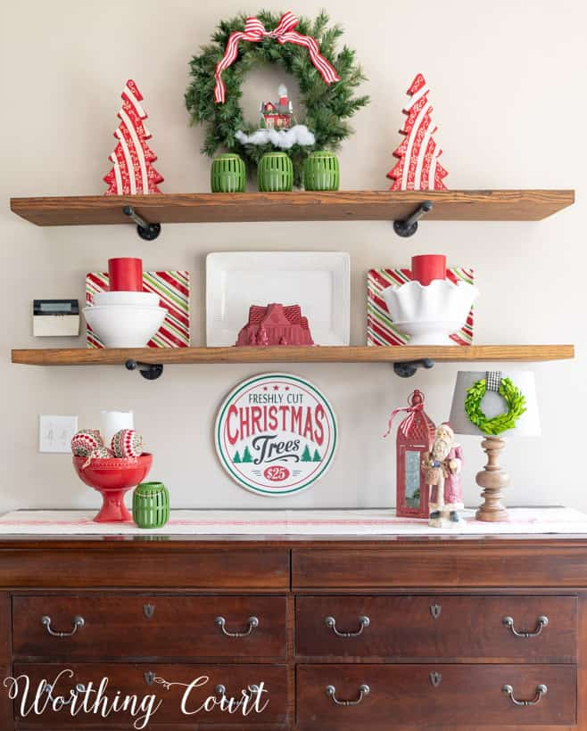 red and green Christmas shelf decorations