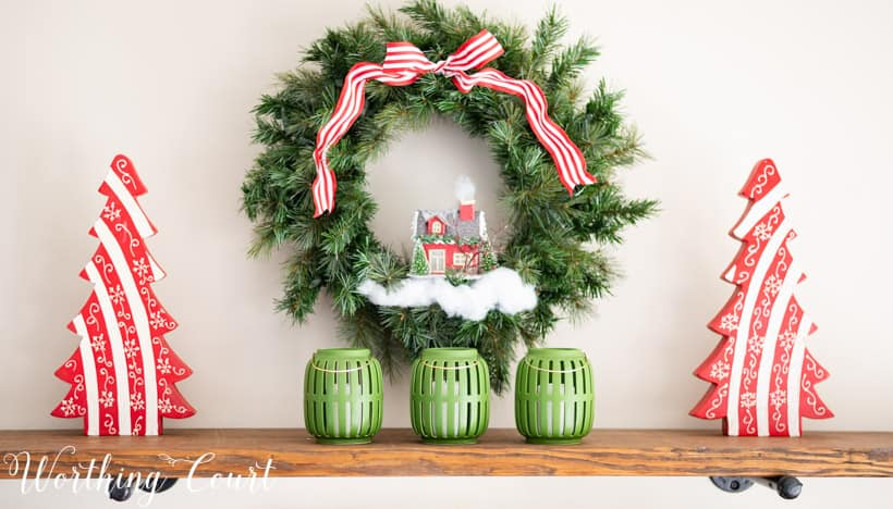 Christmas wreath decorated with red and white