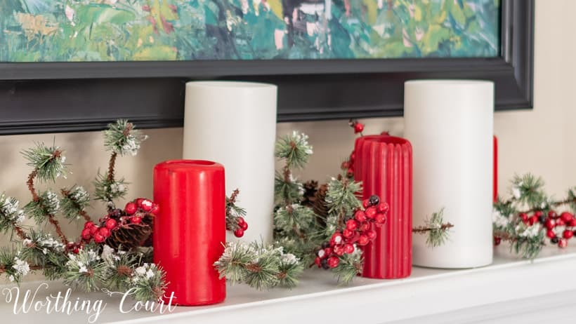 red and white candle arrangement