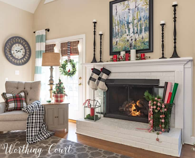 red, black and white Christmas mantel decorations