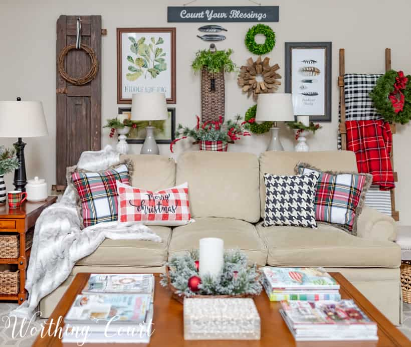 Neutral sofa with plaid Christmas pillows