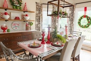 Red, green and white Christmas table