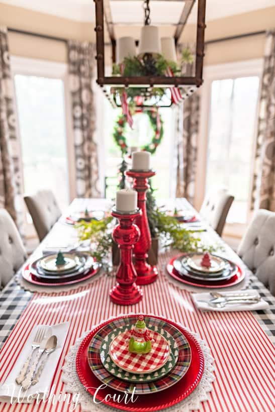 red, green and white Christmas table setting