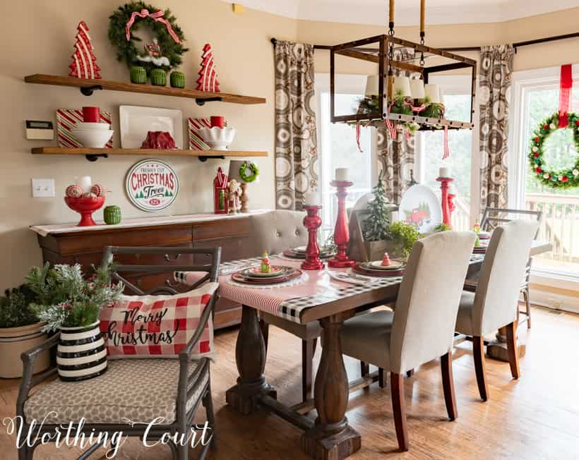 Festive Christmas tablescape in the dining room.