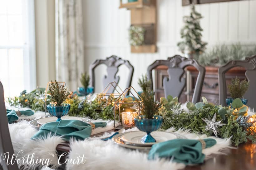 Christmas tablescape with faux fur placemats