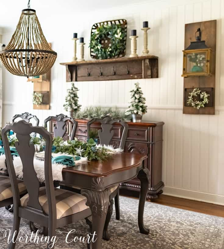 dining room with teal Christmas decorations