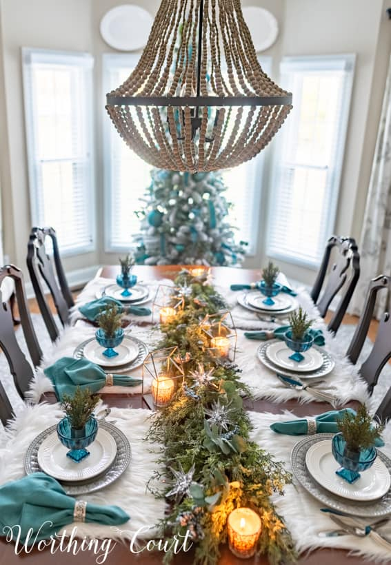 teal Christmas tablescape