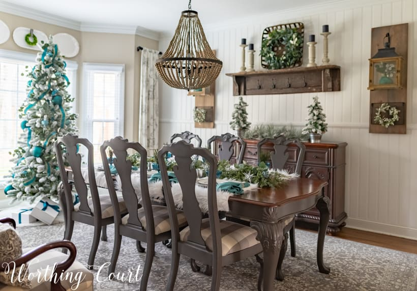 teal Christmas dining room decorations