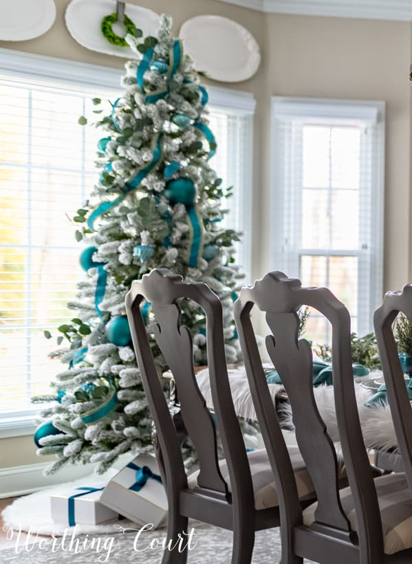 flock Christmas tree with teal decor