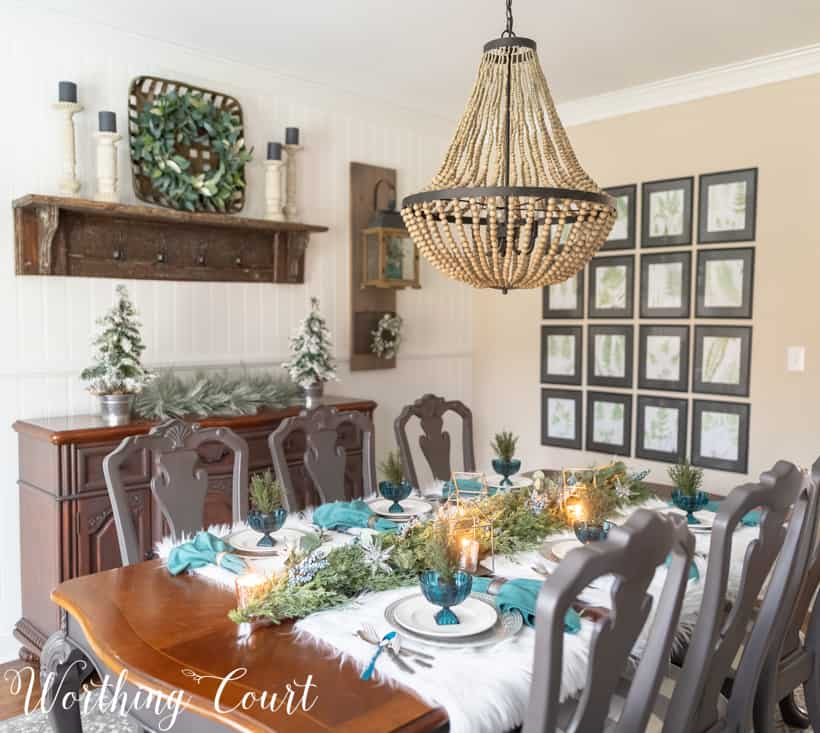 elegant Christmas tablescape with teal decor