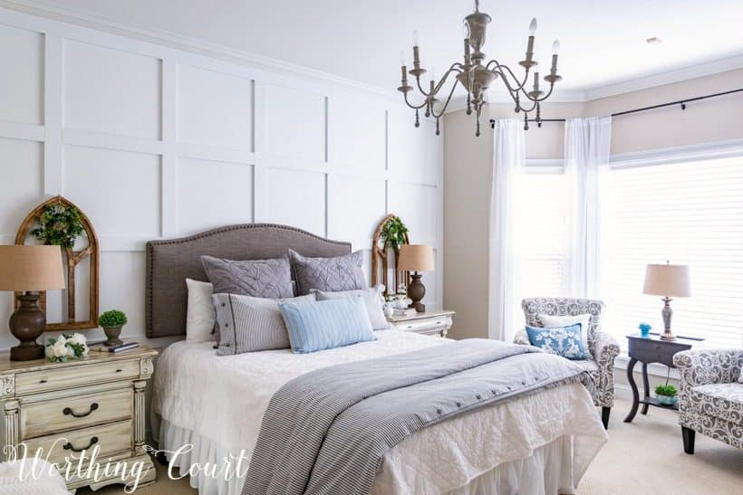 farmhouse gray and white bedroom