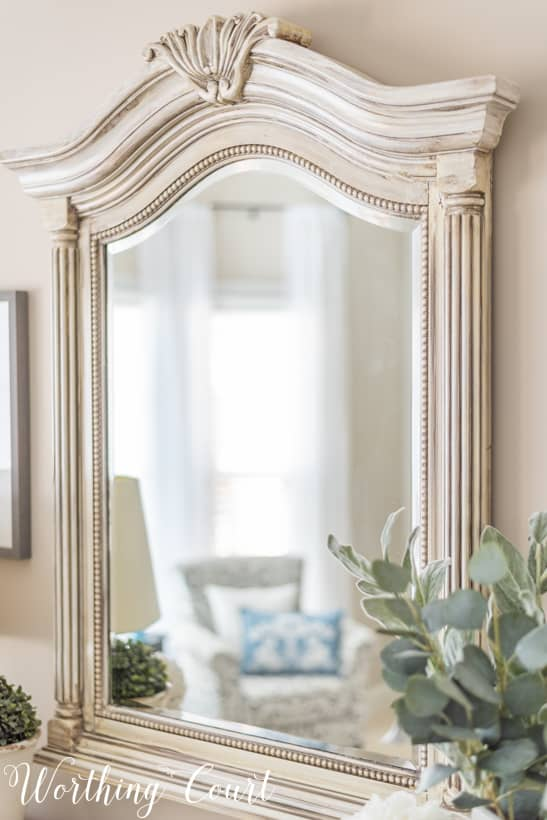 mirror frame painted white with gray glaze