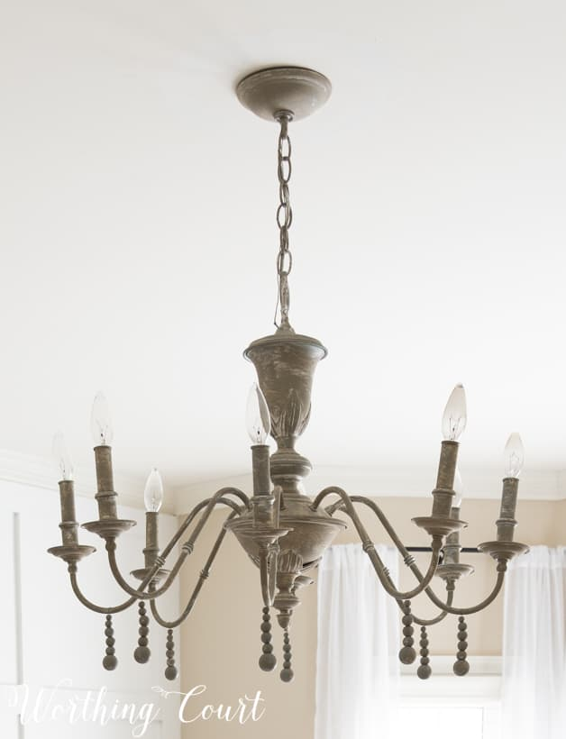 Up close picture of the painted vintage chandelier.